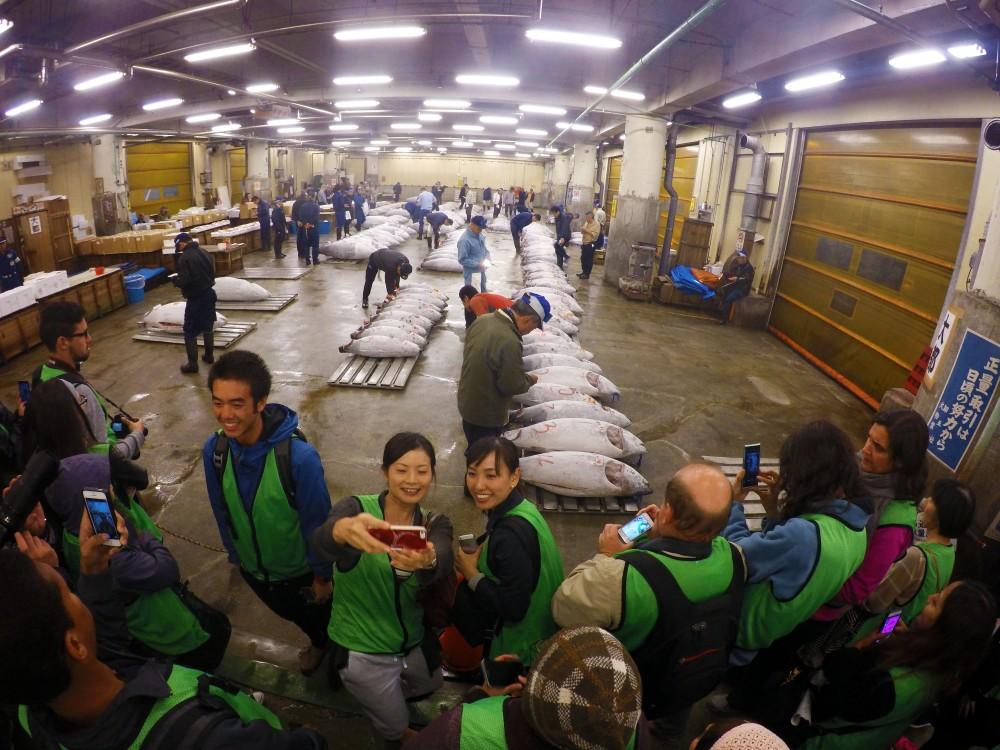 Selfies at tsujiki fish market